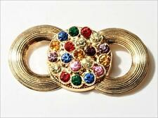 Vintage Bohemian Czech ornate gold tone pin brooch multi colored rhinestones