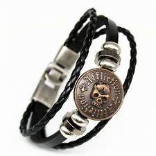 "NEW ""AFFLICTION ""SKULL"" BLACK GENUINE LEATHER BRACELET 8"" ""UNISEX"" $9.95"