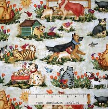 Pets at Play Fabric - Dog Cat Birds in Spring Garden - Spectrix 32""
