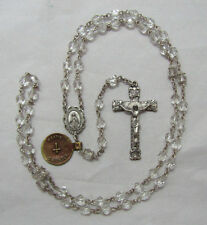 "† NWT OLD STOCK VINTAGE SIGNED CREED STERLING & CLEAR ROSARY NECKLACE 28 1/2"" †"