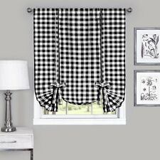 Achim BCTU63BW12 Buffalo Check Window Curtain Tie Up Shade 42X63 Black New NEW