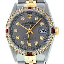 MENS ROLEX DATEJUST WATCH SS & 18K YELLOW GOLD SLATE GREY DIAMOND AND RUBY