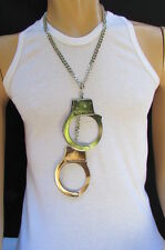 "New Men 20"" Long Biker Fashion Necklace Silver Chain Big Handcuff Pendant Rocker"