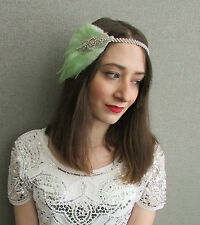 Mint Green Silver Feather Headpiece Fascinator Vintage 1920 Flapper Headband P47