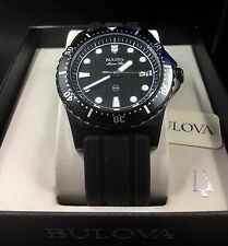 BULOVA Marine Star Men's Black Silicone Watch 98B159 NEW!
