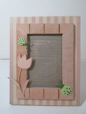 """Russ Berrie Wooden Frame Pink Tulip and Lady Bugs 4x6"""" New"""