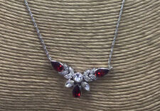Vintage Sterling Necklace Siam Ruby & Crystal Glass Stones Pave Choker