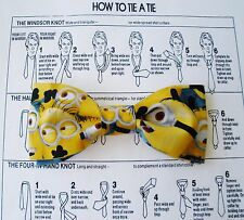 MINIONS BOW TIE DOUBLE LAYER TUXEDO CLIP ON  WEDDING MENS WOMEN BOYS MADE IN USA