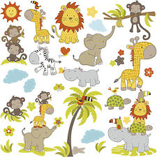 31 New JUNGLE BABIES WALL DECALS Baby Animals Stickers Lions Elephants Monkeys