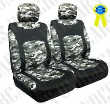 New Snow Camo Low Back Front Bucket Seat Covers Set - Pair