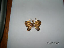 VINTAGE GOLD TONE FILIGREE BUTTERFLY PIN BROOCH WITH FAUX PEARL BODY LOOK!