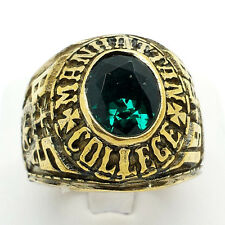 Manhattan College Green Stone 10K Gold Filled Mens Class Ring 24g Sz.11.5 CR1097