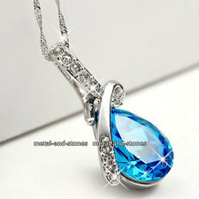 Unique Teardrop Blue Crystal Necklace Xmas Present Love Gift For Her Wife Women