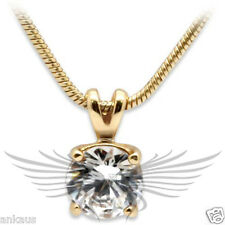 Brilliant Round Cut Grade AAA Cubic Zircon CZ Gold Plated Pendant 414912