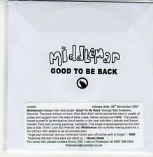 (DC40) Middleman, Good to be Back - 2007 DJ CD