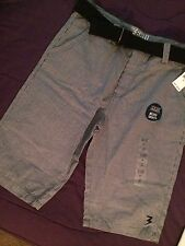 NWT Men's Belted Shorts 3rd Rail A Zoo York Production SZ 34 Med Grey MicroPlaid