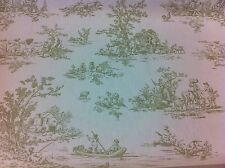 "FRYETT`S Provence ""Toile de Jouy"" Olive Green Cotton Fabric, 1/2 mt  for Rebecca"
