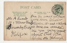 Mr. A. Lumb, 9 Willow Terrace, Sowerby Bridge, Halifax 1907 Postcard, B086