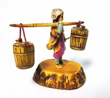 Asian Celluloid Plastic Figurine Japanese Woman with water barrels & dipper