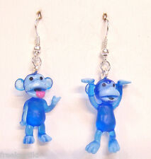 "NEW BLUE Mini Funny Silly Goofy Cute Monkeys Apes Toys 1"" Dangle Earrings"