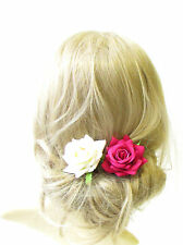 2x Ivory Raspberry Pink Rose Flower Hair Pins Bridal Bridesmaid Clip Floral 1298