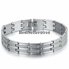 Men's Stainless Steel Wide Chain Charm Link Bracelet Wristband Cuff Bangle Gift
