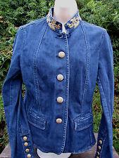 Oscar an Oscar De La Renta Company Jean Denim Jacket Beaded Women's 10