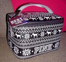 "Victoria's Secret Pink ""BLACK"" Cosmetic Beauty Makeup Train Travel Case Bag New"
