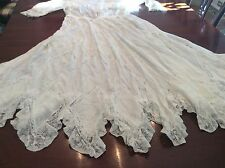 Victorian Vintage Very Fine Handmade Batiste, Lace, Miniscule Pleating, Dress
