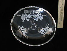 Vintage Clear Glass Plate Dish 25th Silver Wedding Anniversary Roses Bells Gift