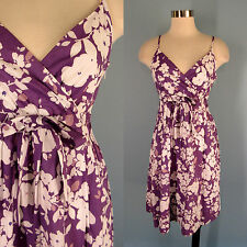 GARNET HILL Purple White Floral 100% Cotton Surplice Sun Dress 8P 8 Petite