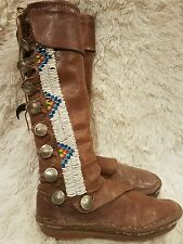 VINTAGE BUFFALO SKIN MOCCASIN BOOTS HAND MADE