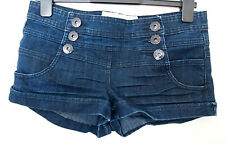 TRUE2U DARK BLUE BUTTONED MINI SEXY  RARE THICK JEANS HOT PANTS SHORTS 10 S