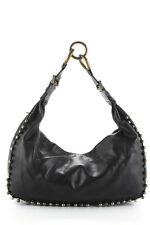 CHLOE Black Leather Metal Bead Embellished Hobo Shoulder Handbag