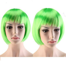 Lady BOB Short Full Head Wigs Cosplay Costume Party Fancy Dress Green Color Wig