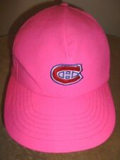 Vtg MONTREAL CANADIENS Hockey Team NEON PINK Bright SNAPBACK HAT Cap Cool NHL