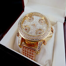 5 TIME ZONE ROSE GOLD FINISH 6 ROW CUSTOM ICED OUT WHITE LAB SIMULATE DIAMOND