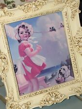Vtg Shabby Chic Girl w/ Dog Country Laundry Room Decor~Frame~Print/Picture
