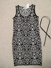 CARMEN MARC VALVO BLACK & WHITE IVORY TOWER SWEATER DRESS SIZE M NWT 118.00
