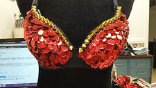 """RED SEQUIN & GOLD SPIKE BRA TOP NWT BY """"OH YES"""" SMALL"""