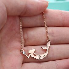 Necklace Jewelry Women Rose Gold Crystal Mermaid Gifts Clearly Stylish Pendant