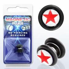 Fake Illusion Fake Piercing Magnetic Star Red/White Ear Pair Ear Gauge Plug Pair