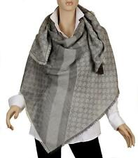 NEW GUCCI GUCCISSIMA HUGE OVERSIZED SILVER GRAY WOOL SILK GG SHAWL WRAP SCARF