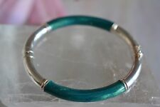 Milor Italy 925 Sterling Silver Blue Green Shimmering Enamel Hinged Bangle