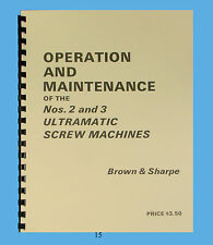 Brown & Sharpe #2 &#3 Ultramatic Screw Machine Operation & Maintenance Manual*15