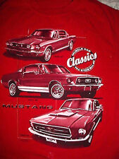Vtg 1960s & 70s 66-67-68 GT Ford Mustang Muscle Car Red T Shirt-M
