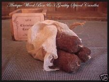 Antique Wood Primitive Box & 3 Nubby Grubby Cinnamon Clove Spice Scented Candles
