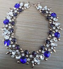 GORGEOUS ZARA BLUE CLEAR STONES STATEMENT NECKLACE – NEW