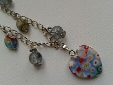 Silver colour chain necklace Jewellery. Blue beads. Heart pendant, Handmade. BJ