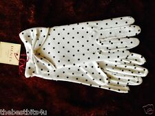 RETRO DENTS WHITE POLKA DOT COTTON GLOVE WITH BOW DETAIL 6-2275 VINTAGE